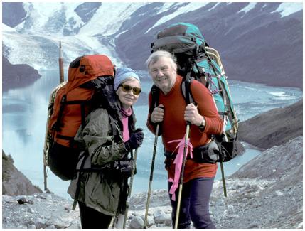 GITTA AND OLAF ABOVE BAHIA BROOKES DARWIN RANGE, TIERRA DEL FUEGO, CHILE
